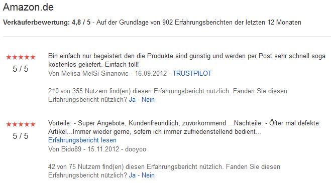 Verkäuferbewertungen Amazon Google