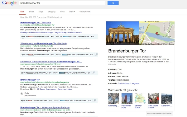 Knowledge Graph bei informationalen Suchen