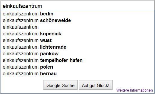 Suchergebnis via Google