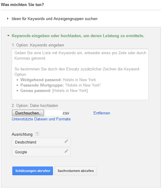 Keyword-Planer-Daten