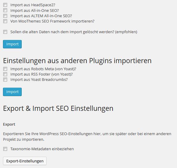 Export Import Funktionen