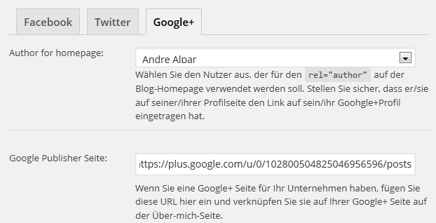 Google+ Einstellungen