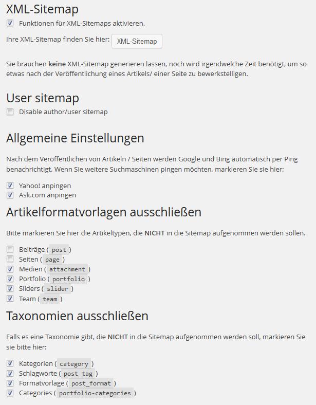 XML Sitemaps im Yoast Plugin