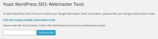 Google Webmaster Tool Integration