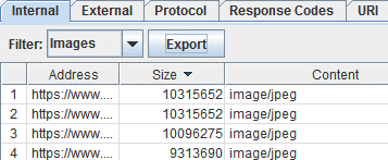 Abbildung 5: Export 1: Tab Internal, Filter Images