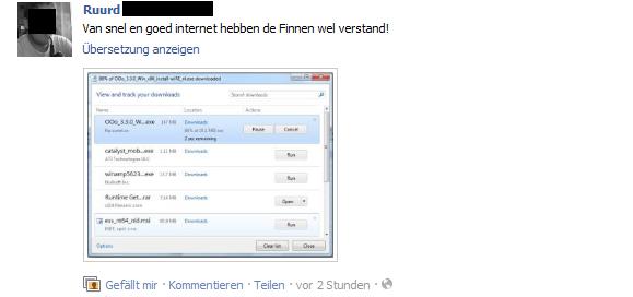 Bing Übersetzungsfeature bei Facebook