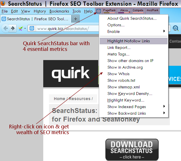 Quirk Searchstatus Bar im Firefox
